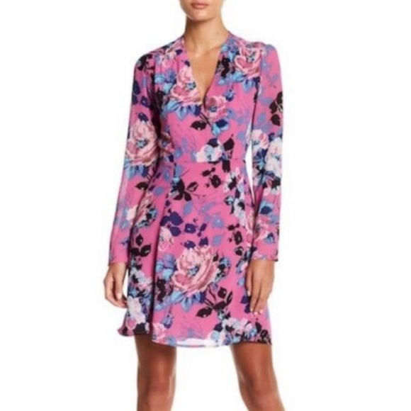 Leyden Women Long Sleeve Floral Wrap Dress Size XL a39df290a